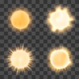 Realistic sun on transparent background Royalty Free Stock Images