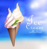 Realistic Sundae Ice Cream Concept Royalty Free Stock Photo