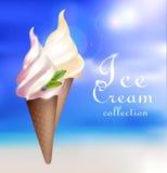 Realistic Sundae Ice Cream Concept Royalty Free Stock Images