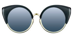 Sunglasses with blue lens and gold metalic frame. Realistic sunglasses with blue gradient lens and round cat eye frame. Vector 3D illustration royalty free illustration