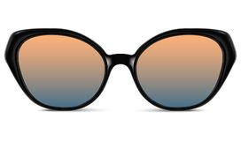 Sunglasses with blue lens and black plastic frame. Realistic sunglasses with blue orange gradient lens and black plastic frame. Vector 3D illustration Stock Photography