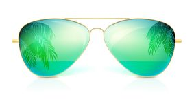 Realistic sunglasses, classic shape in fine gold frame isolated on white background. Icon of sunglasses with green glass. Reflection of the palm trees, the sea Royalty Free Stock Photo