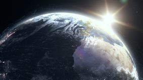 Realistic sunrise over planet Earth with digital data grid mesh around royalty free illustration