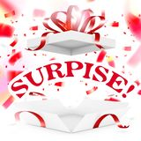 Realistic Surprise Gift Box With Falling Confetti. EPS10 Vector royalty free illustration