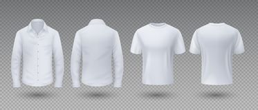Realistic t-shirt and shirt. White mockup isolated template, 3D blank male uniform clothing, front and back view. Vector royalty free illustration