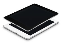 Realistic tablet computers with black screens. Stock Photo