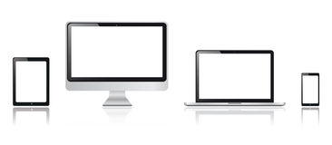 Realistic tablet, smartphone, monitor and tablet computer graphics Stock Image