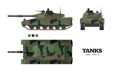 Realistic tank blueprint. Armored car with camouflage on white background. Top, side, front views. War transport. Realistic tank blueprint. Armored car with Royalty Free Stock Image