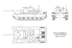 Realistic tank blueprint. Outline armored car on white background. Top, side, front views. War camouflage transport. Realistic tank blueprint. Outline armored Royalty Free Stock Image