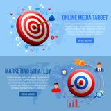 Realistic Targeting Marketing Banners Stock Photo