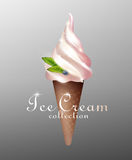 Realistic Tasty Sundae Ice Cream Template. With bilberry in waffle cone on gray background isolated vector illustration Stock Photo