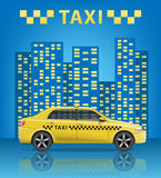 Realistic Taxi car with blue city background. City taxi banner. Vector illustration Stock Images