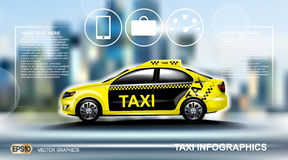 Realistic Taxi car Infographic. Urban city background. Online Cab Mobile App, Cab Booking, Map Navigation e-commerce Stock Photography