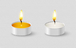 Realistic tealight candle icon set  on transparent background. Cose-up design template in vector EPS10. Two realistic tealight candle icon set  on transparent Stock Photography