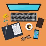 Realistic technology workplace organization. Top view of color work desk with laptop stock illustration