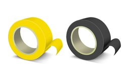 Realistic Template Blank Color Adhesive Roll Tape Set. Vector Stock Photo