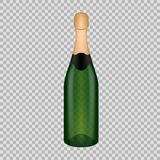 Realistic template empty beautiful glass champagne bottle with cap. Realistic template of empty glass champagne bottle with cap. Template, breadboard, glass vector illustration