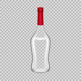 Realistic template empty beautiful glass martini bottle with screw cap. Realistic template of empty glass martini bottle with screw cap. Template, breadboard Royalty Free Stock Image