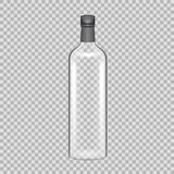 Realistic template empty beautiful glass tequila bottle with screw cap. Realistic template of empty glass tequila bottle with screw cap. Template, breadboard Stock Images