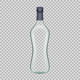 Realistic template empty beautiful glass vodka bottle with screw cap. Realistic template of empty glass vodka bottle with screw cap. Template, breadboard, glass Stock Photos
