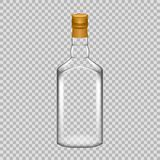 Realistic template empty beautiful glass whiskey bottle with screw cap. Stock Image