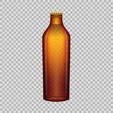 Realistic template empty beautiful glass beer bottle with screw cap. Realistic template of empty glass beer bottle with screw cap. Template, breadboard, glass Royalty Free Stock Images
