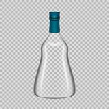 Realistic template empty glass bottle from cognac with screw cap. Realistic template of empty glass cognac bottle with screw cap. Template, breadboard, glass Stock Image