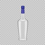 Realistic template empty beautiful glass liquor bottle with screw cap. Realistic template of empty glass liquor bottle with screw cap. Template, breadboard Royalty Free Stock Photo