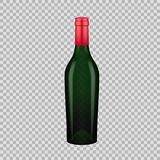 Realistic template of empty glass wine bottle with cap. Template, breadboard, glass package, mockup bottles of alcoholic beverage on a transparent background stock illustration