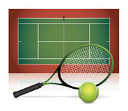 Realistic Tennis Court Illustration with Racket and Ball. An illustration of a tennis court with a tennis racket and tennis ball. Vector EPS 10 available Stock Images
