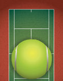 Realistic Textured Tennis Court and Ball Illustration Royalty Free Stock Photos