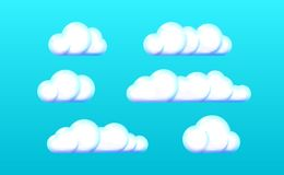 Realistic three-dimensional plastic set light Clouds Icon, White toy. Cloud symbol web. Modern glossy colorful design on blue. vector illustration