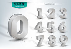 Realistic three dimensional set of number. Realistic three dimensional, set of number,  illustration Royalty Free Stock Photo
