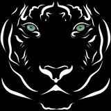 Realistic tiger head image black and white with lively eyes. Stock Photos