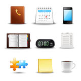 Realistic Time Management Icons Stock Images