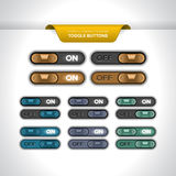 Toggle_buttons. Realistic toggle buttons or sliders (ON/OFF Royalty Free Stock Images