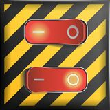 Realistic Toggle Switch Vector. Danger Background. Red Switches With On, Off Position. Control Illustration. Stock Images