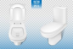 Realistic toilet mockup closeup, white modern toilet in 3d illustration isolated on transparent background. Vector. EPS 10 Stock Photo
