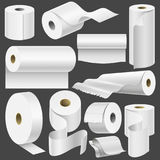 Realistic toilet paper roll and kitchen towel template mock up set isolated vector illustration blank white 3d packaging Royalty Free Stock Photo