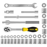 Realistic  tools. set. Tools from steal for mechanics royalty free illustration