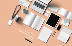 Realistic Top View Office Stationery And Objects Mockup vector illustration