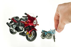 Realistic Toy Motorcycles Stock Photo