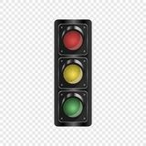 Realistic traffic lights isolated on a transparent background. Vector element for your design. stock illustration
