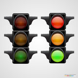 Realistic traffic lights Isolated on white Stock Photos