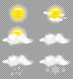 Realistic transparency sun and clouds in weather icons set Stock Image