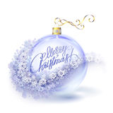 Realistic Transparent Blue Christmas Ball With Snowflakes Stock Photography