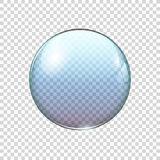 Realistic transparent blue soap bubble. Vector illustration Royalty Free Stock Photos