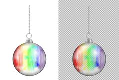 Realistic transparent Christmas ball with watercolor. New year t royalty free illustration