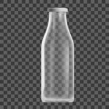 Realistic Transparent Clear Empty Milk Bottle Isolated stock image