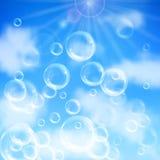 Soap bubbles background. Realistic transparent floating soap bubbles on blue sky background. Design element for advertising booklet, flyer or poster vector illustration
